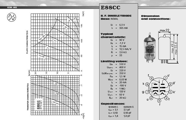 Valvola 6DJ8 / ECC88 / 6922 / E88CC / 7308 JJ Selezionata ...